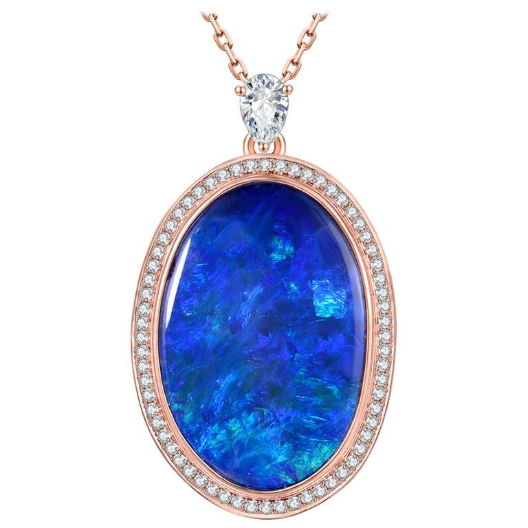 Fei Liu Opal Diamond 18 Karat Rose Gold Pendant Necklace For Sale