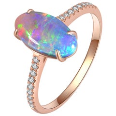 Fei Liu Opal Diamond 18 Karat Rose Gold Ring