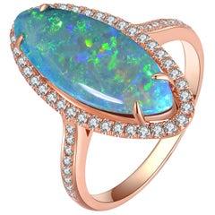 Fei Liu Opal Diamond 18 Karat Rose Gold Ring