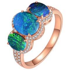 Fei Liu Opal Diamond 18 Karat Rose Gold Trilogy Ring