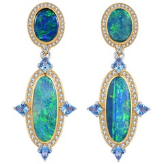 Fei Liu Opal Diamond Blue Topaz 18 Carat Yellow Gold Drop Earrings