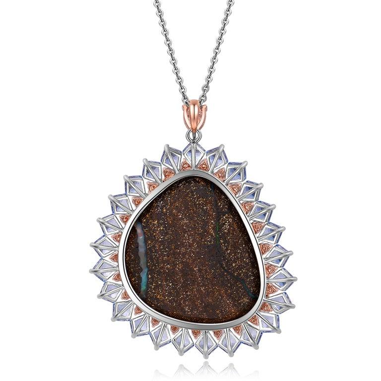 Contemporary Fei Liu Opal Diamond Blue Topaz Pendant Necklace 18 Karat Gold