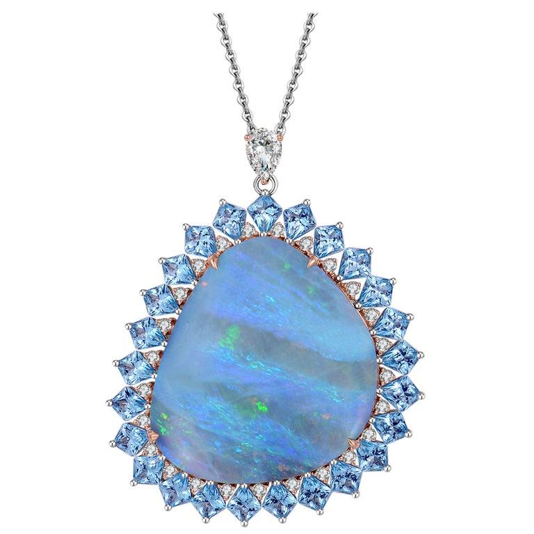 Fei Liu Opal Diamond Blue Topaz Pendant Necklace 18 Karat Gold