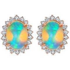 Fei Liu Opal Diamond 18 Karat Rose Gold Earrings