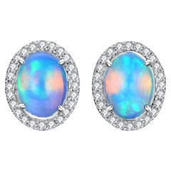 Fei Liu Opal Diamond 18 Karat White Gold Stud Earrings