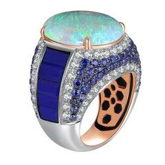 Fei Liu Opal Lapis Lazuli Diamond Sapphire 18 Karat Gold Ring