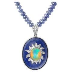 Fei Liu Opal Lapis Lazuli Diamond Sapphire White Gold Beaded Necklace