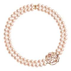 Fei Liu Peach Pearl Pink Sapphire Diamond Rose Gold Necklace