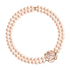 Fei Liu Peach Pearl Pink Sapphire Diamond Rose Gold Necklace