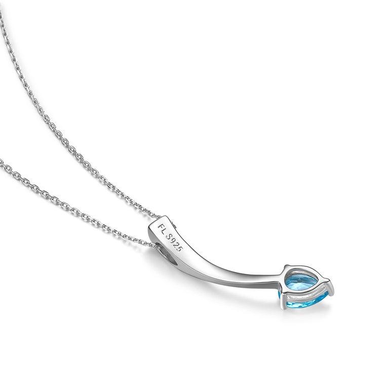 Contemporary Fei Liu Pear Cut Blue Topaz Cubic Zirconia Sterling Silver Pendant Necklace For Sale