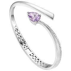 Fei Liu Pear Cut Purple Amethyst Cubic Zirconia Sterling Silver Bangle Bracelet