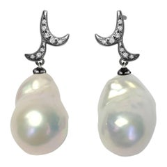 Fei Liu Pearl Diamond 18 Karat Black Gold Drop Earrings