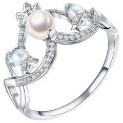 Fei Liu Pearl Diamond 9 Karat White Gold Cocktail Ring