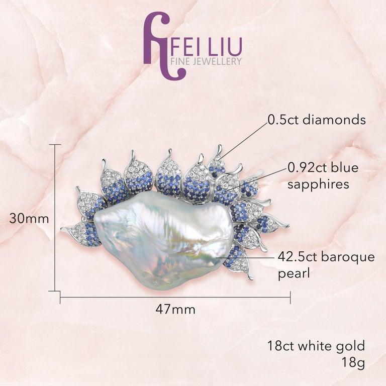 Contemporary Fei Liu Pearl Diamonds Sapphires White Gold Brooch Pendant Necklace For Sale