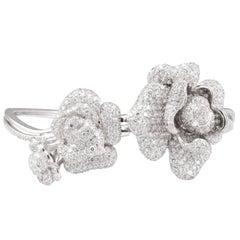 Fei Liu Peony High Polish with White Cubic Zirconia Silver Bangle Bracelet
