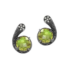 Fei Liu Peridot Diamond 18 Karat Black Gold Stud Earrings