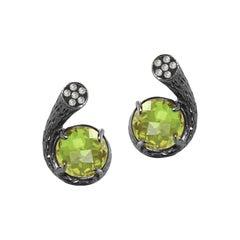Fei Liu Peridot Diamond 18 Karat Black Gold Stud Earrings
