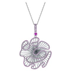Fei Liu Pink Cubic Zirconia Sterling Silver Statement Pendant Necklace