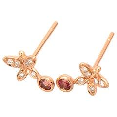 Fei Liu Pink Tourmaline Diamond 18 Karat Yellow Gold Buddleia Butterfly Earrings