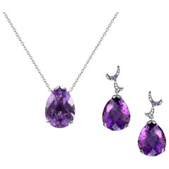 Fei Liu  18 Karat White Gold Purple Amethyst Small Pear Earrings Necklace Set
