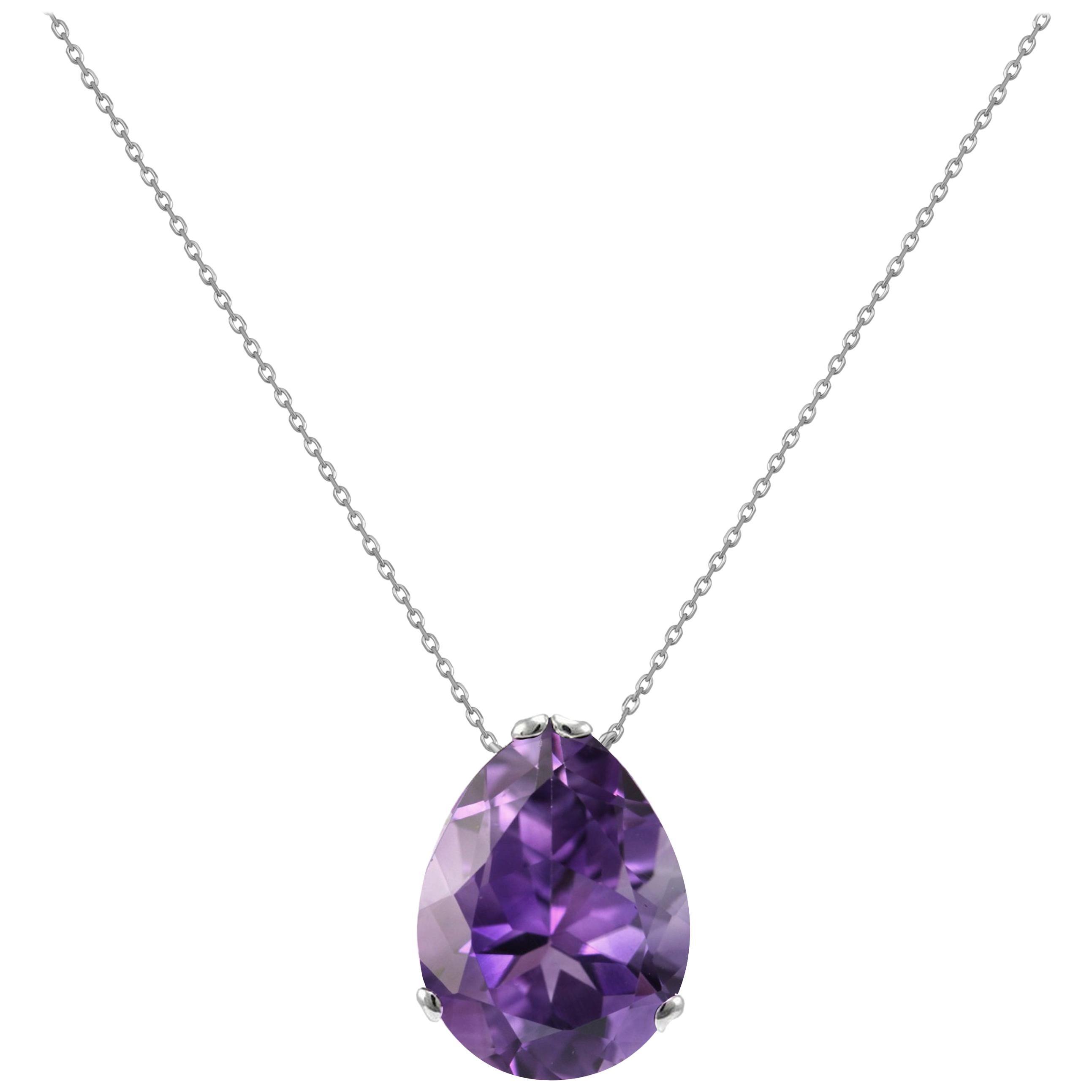 Fei Liu Purple Amethyst 18 Karat Black Gold Egg Pendant Necklace