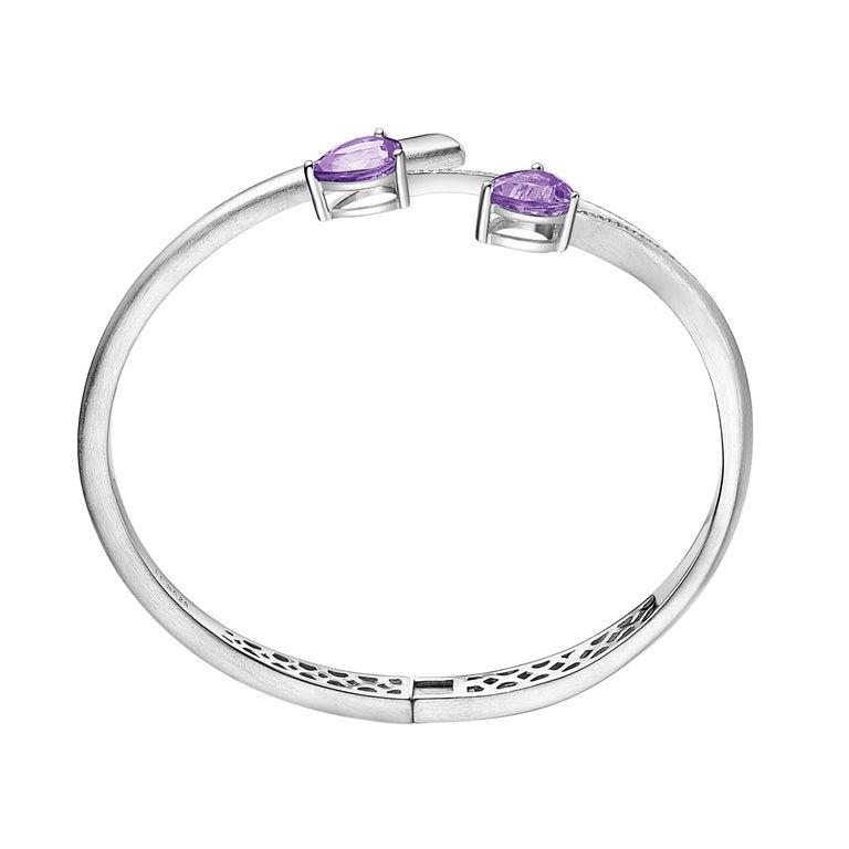 Contemporary Fei Liu Purple Amethyst Cubic Zirconia Sterling Silver Bangle Bracelet For Sale