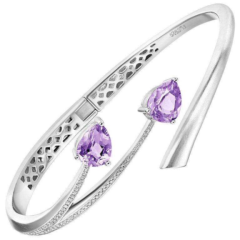 Fei Liu Purple Amethyst Cubic Zirconia Sterling Silver Bangle Bracelet For Sale