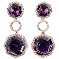 Fei Liu Purple Amethyst Diamond 18 Karat Rose Gold Statement Drop Earrings
