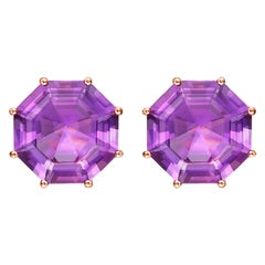 Fei Liu Purple Amethyst 18 Karat Rose Gold Stud Earrings
