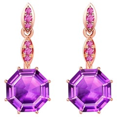 Fei Liu Octagon Purple Amethyst Pink Sapphire 18 Karat Rose Gold Drop Earrings