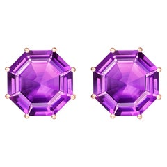 Fei Liu Purple Amethyst Pink Sapphire 18 Karat Rose Gold Drop Earrings