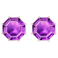 Fei Liu Purple Amethyst Pink Sapphire Rose Gold Drop Earrings