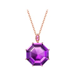 Fei Liu Purple Amethyst Pink Sapphire Rose Gold Pendant Necklace
