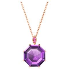 Fei Liu Purple Amethyst Pink Sapphire Rose Gold Pendant Necklace
