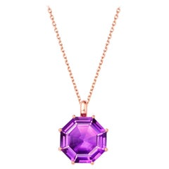 Fei Liu Octagon Purple Amethyst 18 Karat Rose Gold Pendant Necklace
