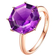 Fei Liu Octagon Cut Purple Amethyst 18 Karat Rose Gold Cocktail Ring