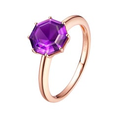 Fei Liu Purple Amethyst 18 Karat Rose Gold Solitaire Octagon Ring
