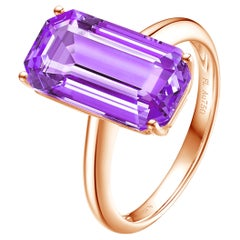 Fei Liu Emerald Cut Purple Amethyst 18 Karat Rose Gold Cocktail Ring