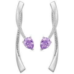 Fei Liu Purple Amtheyst Cubic Zirconia Sterling Silver Two-Piece Drop Earrings
