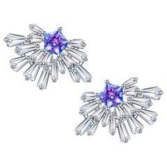 Fei Liu Purple-Aqua Cubic Zirconia Sterling Silver Fountain Stud Earrings