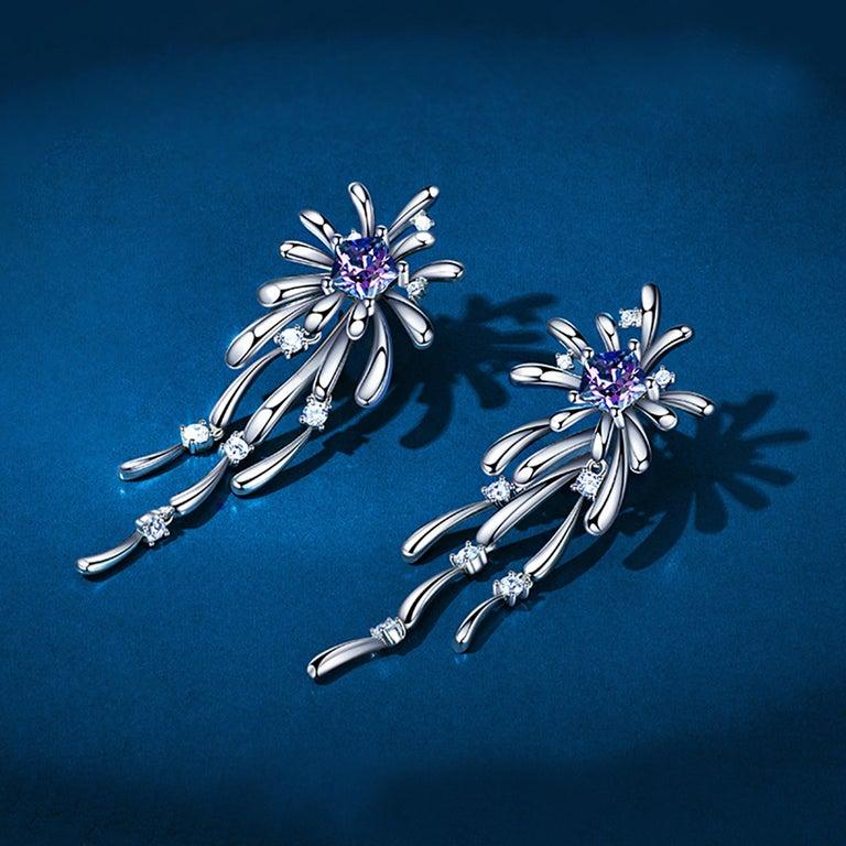 Brilliant Cut Fei Liu Purple-Aqua Swarovski Zirconia Sterling Silver Crossette Drop Earriings For Sale