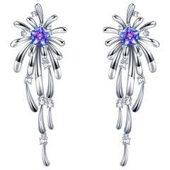 Fei Liu Purple-Aqua Swarovski Zirconia Sterling Silver Crossette Drop Earriings