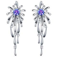 Fei Liu Purple-Aqua Swarovski Zirconia Sterling Silver Crossette Drop Earrings