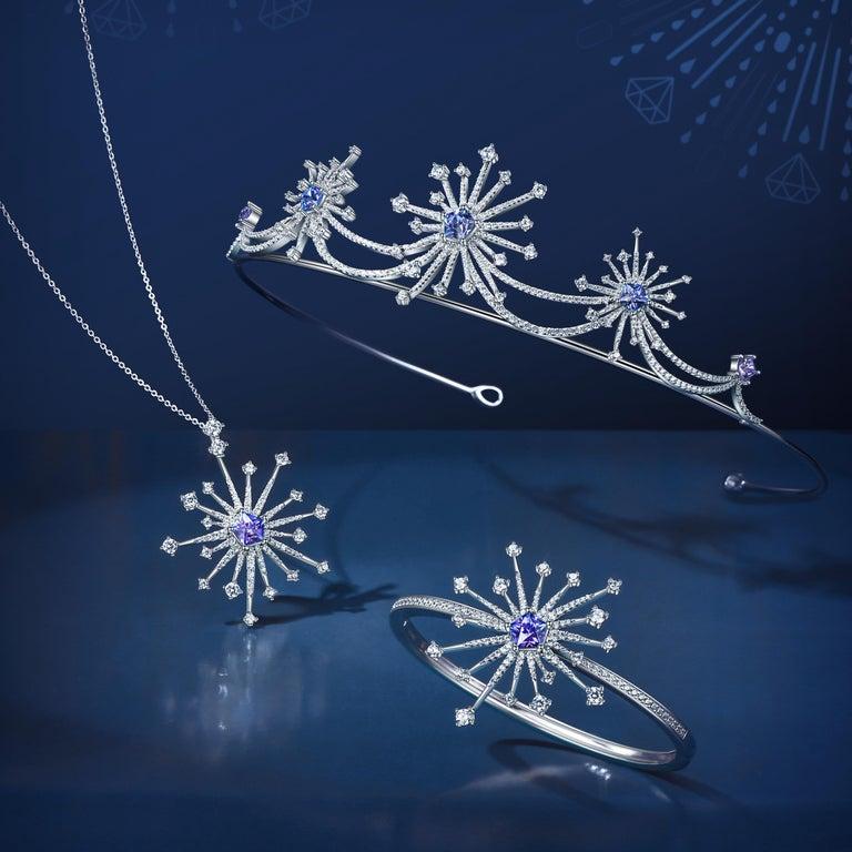 Hexagon Cut Fei Liu Purple-Aqua Swarovski Zirconia Sterling Silver Sparkler Firework Tiara For Sale
