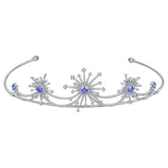 Fei Liu Purple-Aqua Swarovski Zirconia Sterling Silver Sparkler Firework Tiara