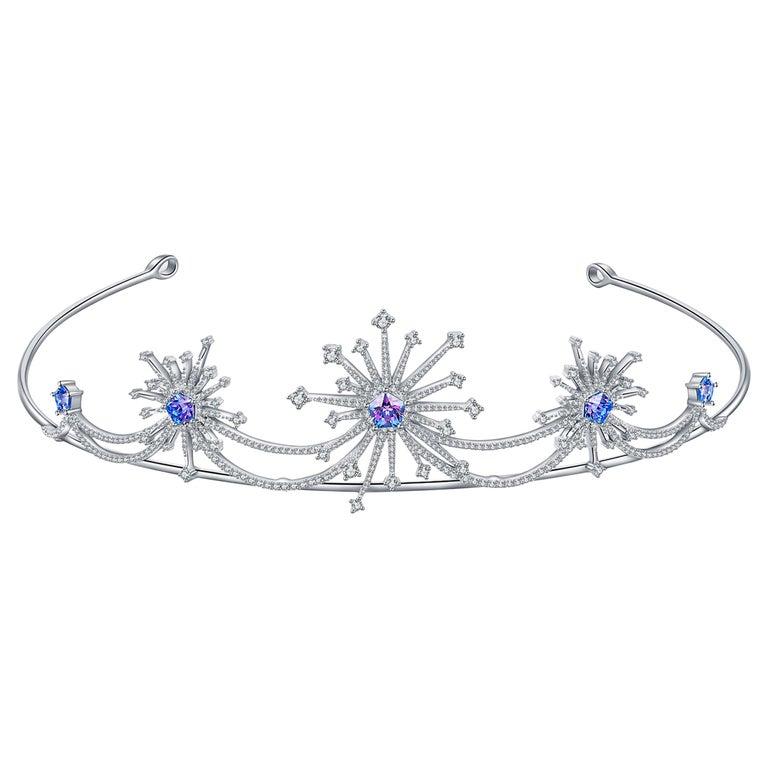Fei Liu Purple-Aqua Swarovski Zirconia Sterling Silver Sparkler Firework Tiara For Sale