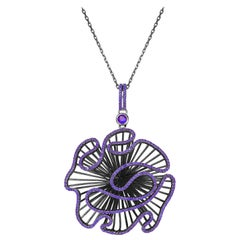 Fei Liu Purple CZ Oxidised Sterling Silver Statement Pendant Necklace