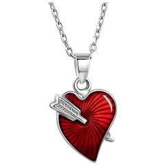Fei Liu Red Enamel Heart Arrow Sterling Silver Pendant Necklace