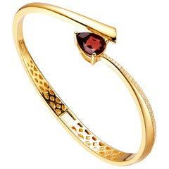 Fei Liu Red Garnet CZ 18K Yellow Gold Plated Sterling Silver Bangle Bracelet