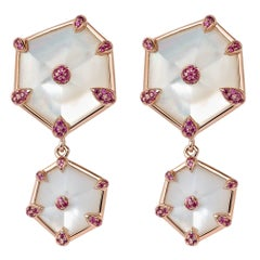 Fei Liu Hexagon Mother of Pearl Pink Sapphire 18 Karat Rose Gold Drop Earrings